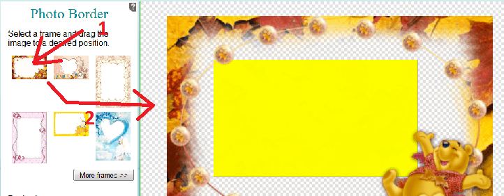 you will notice that below the frames in the toolbox two sliders will appear3 with these sliders you can enlarge or shrink the chosen photoborder or to